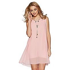 Quiz - Pink chiffon sleeveless necklace tunic dress