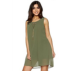 Quiz - Khaki chiffon necklace tunic dress