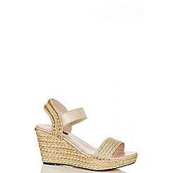 Quiz - Gold strappy hessian wedges