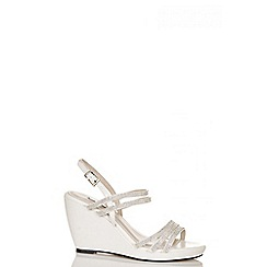 Quiz - White pu diamante multi strap wedges