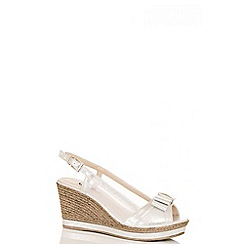 Quiz - Silver shimmer bow sling back wedges