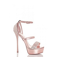 Quiz - Rose gold multi strap shimmer platform sandals