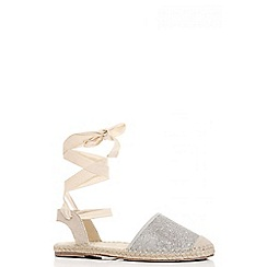 Quiz - Silver shimmer ankle tie espadrille pumps
