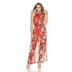 Quiz - Red chiffon high neck floral maxi dress