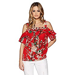 Quiz - Red flower print strappy top