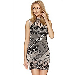Quiz - Nude and black flock print mesh bodycon dress