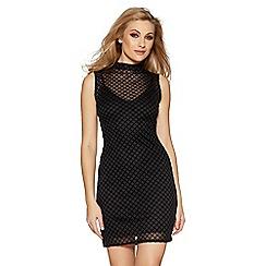 Quiz - Black grid print mesh bodycon dress