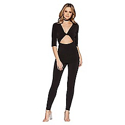Quiz - Black cut out 3/4 sleeves jumpsuit