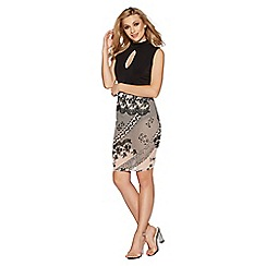Quiz - Nude and black flock print mesh midi skirt