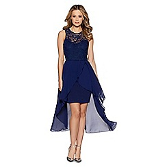 Quiz - Navy lace dip hem dress
