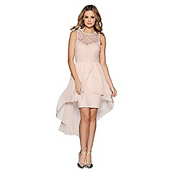 Quiz - Blush pink lace dip hem dress