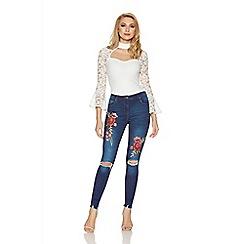 Quiz - Cream crepe frill lace sleeves bodysuit