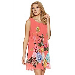 Quiz - Coral chiffon sleeveless floral tunic dress