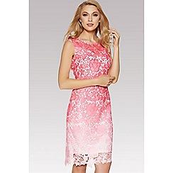 Quiz - Pink crochet ombre midi dress