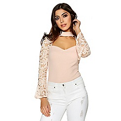 Quiz - Nude crepe frill lace sleeves bodysuit