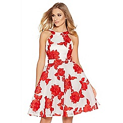 Quiz - Cream and red flower applique prom dress