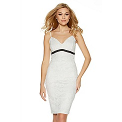 Quiz - Cream lace contrast sweetheart neck midi dress