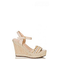 Quiz - Nude strap hessian strap wedges
