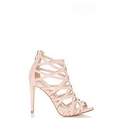 Quiz - Pink patent caged heeled sandals