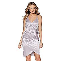 Quiz - Grey slinky wrap over bodycon dress