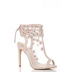 Quiz - Pink mesh flower embroidered peeptoe shoe boots