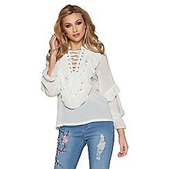 Quiz - Cream ruffle lace up blouse