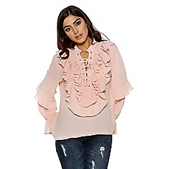 Quiz - Peach ruffle lace up blouse