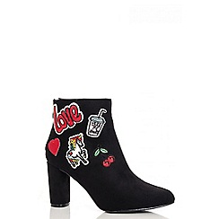 Quiz - Black faux suede patchwork embroidered ankle boots