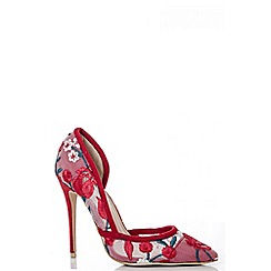 Quiz - Red mesh flower embroidered court shoes