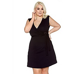 Quiz - Curve black v neck wrap front dress
