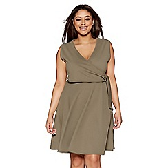 Quiz - Curve khaki v neck wrap front dress