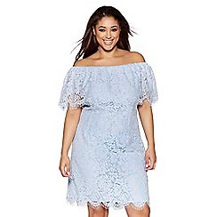 Quiz - Curve blue lace bardot bodycon dress