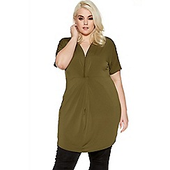 Quiz - Curve khaki knot detail tunic dress