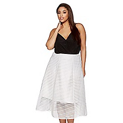 Quiz - Curve cream mesh ribbed midi skirt