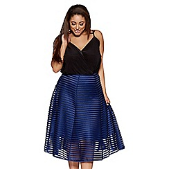 Quiz - Curve navy mesh ribbed midi skirt