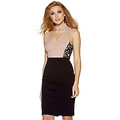 Quiz - Nude and black lace panel choker midi dress
