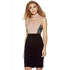 Quiz - Nude and black lace panel choker midi dress