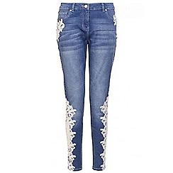 Quiz - Blue denim crochet detail skinny jeans