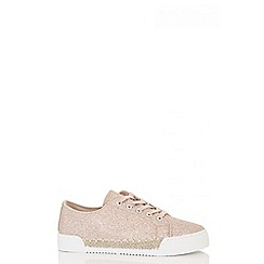 Quiz - Rose gold glitter hessian trim trainers
