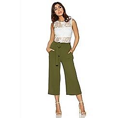 Quiz - Khaki tie belt culotte trousers