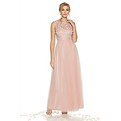 Quiz - Pink tulle flower embellished maxi dress