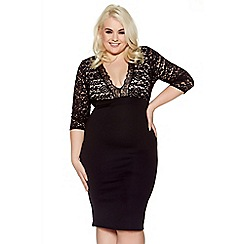Quiz - Curve black and nude lace 3/4 sleeves bodycon midi dress
