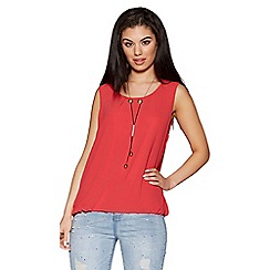 Quiz - Coral chiffon necklace bubble top
