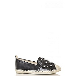 Quiz - Black diamante flower espadrilles
