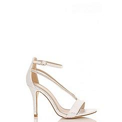 Quiz - Silver shimmer diamante oval strap sandals