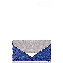 Quiz - Blue lace diamante envelope clutch bag