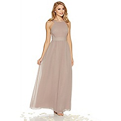 Quiz - Mocha chiffon embellished high neck maxi dress