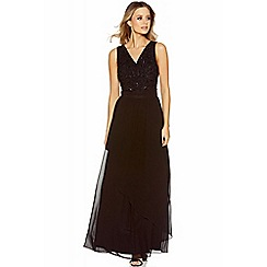 Quiz - Black diamante embellished v neck waterfall maxi dress