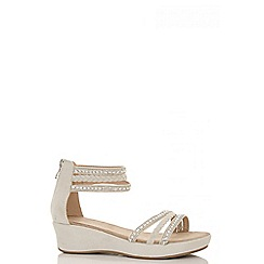 Quiz - Beige diamante rope strap low wedges