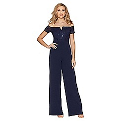 Quiz - Navy sequin lace bardot jumpsuit